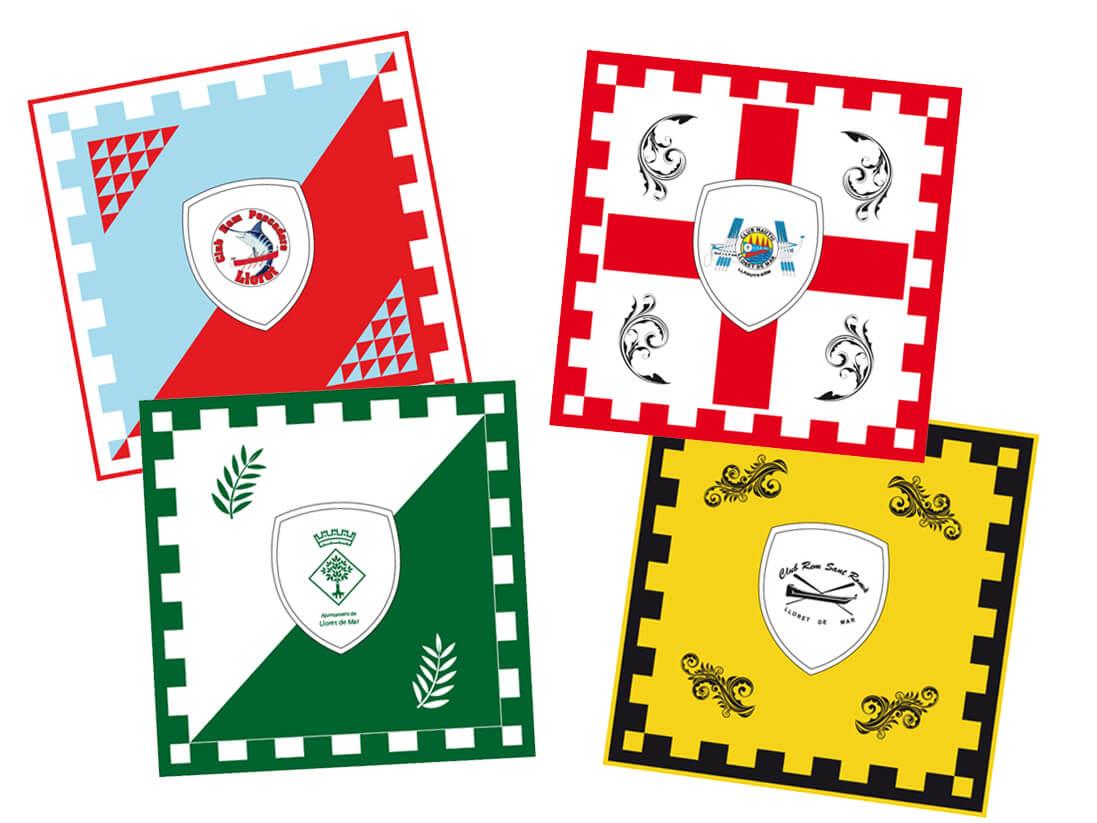 Diseño banderas fiesta patrona de Lloret de Mar. Obrería Santa Cristina