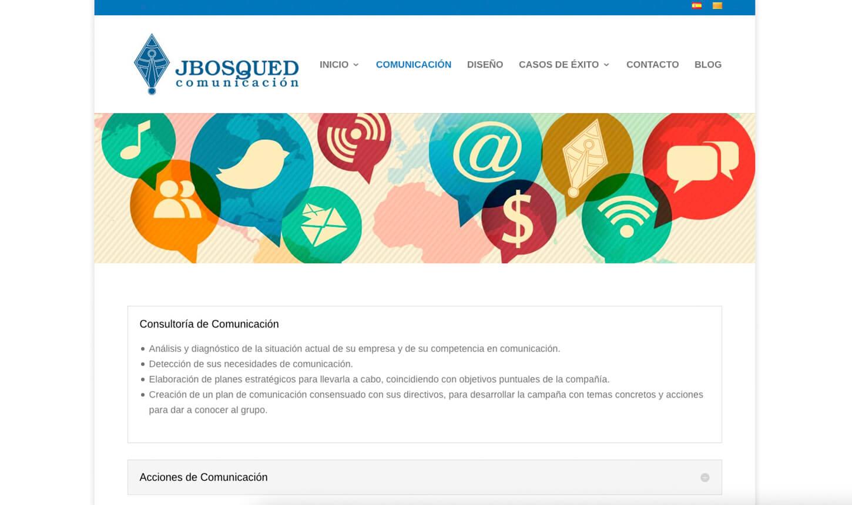 Web secciones Jbosqued Comunicación
