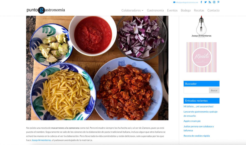 web Punto Gastronomía