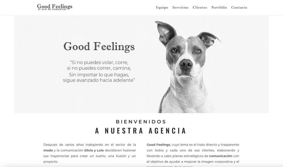 Pagina web agencia comunicacion Good Feelings