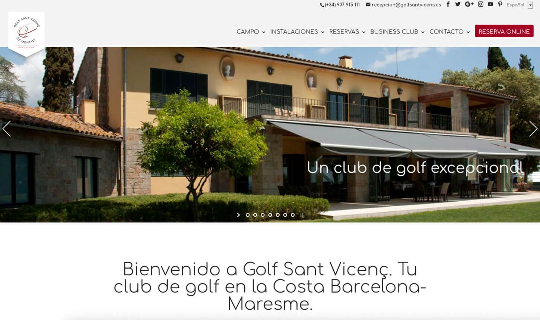 Página web Campo de Golf Sant Vicenç de Montalt