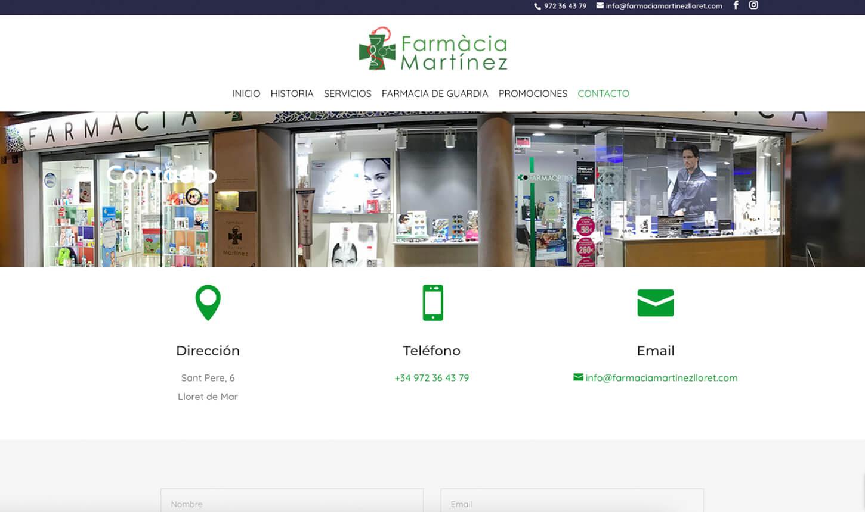 Pagina web contacto Farmacia Martinez