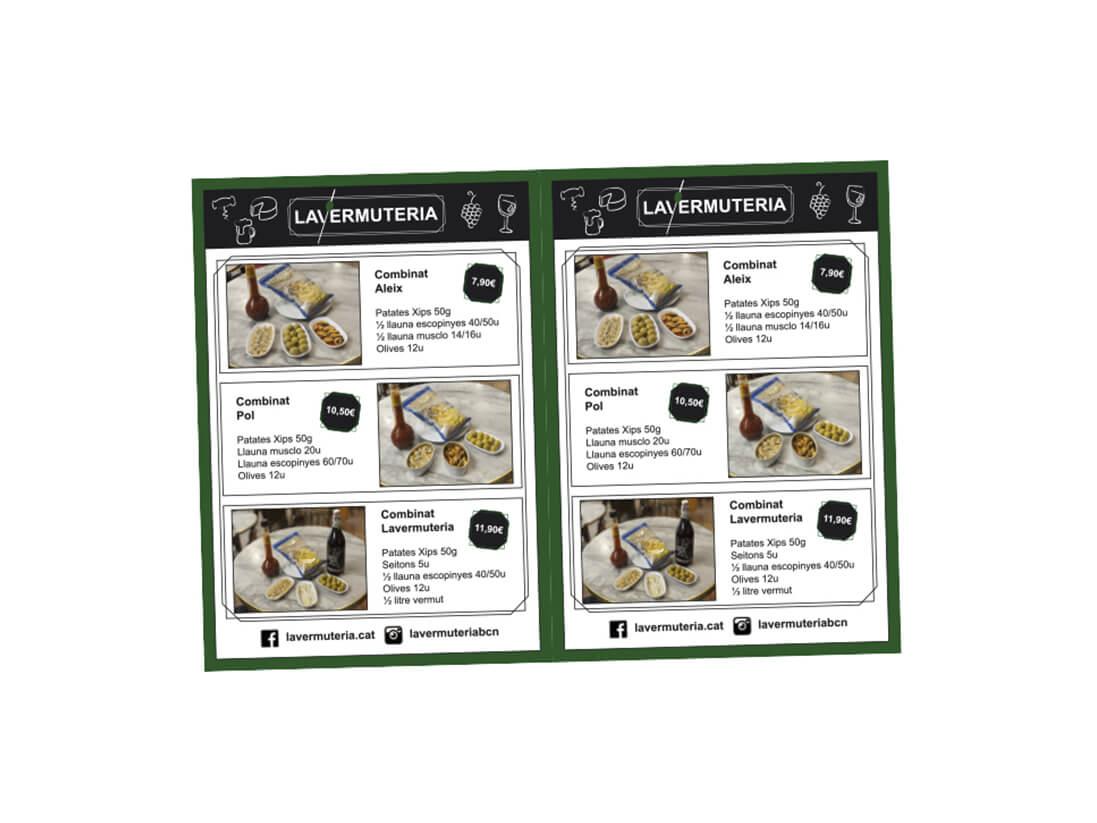 Diseño carta de tapas La vermutería
